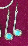 Earrings, Hammered 1.5-inch QuarterNote (8x6 mm stone)