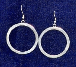 Earrings, Hammered Thick Loop, 1-1/2 inch dia