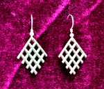 Earrings, Cast  3x3 Diamond Pattern with Tails