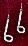 Earrings, Hammered,  1-1/2 inch Half Note