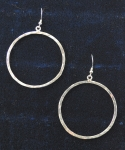 Earrings, Hammered Loop 1-3/4 inch dia.