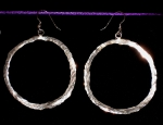 Earrings, Hammered, Paper Thin 2-1/2 inch dia