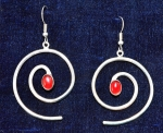 Spiral Dangle Earrings w/Carnelian