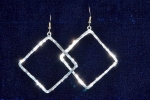 Earrings, Hammered Square Diamond, 2-1/4 long diamond