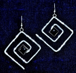 Earrings, Hammered Square Spiral with 10 mm Square Stone